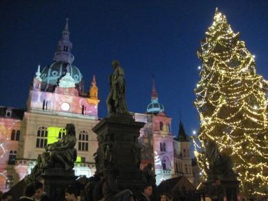 Graz Lichtkunst am Rathaus